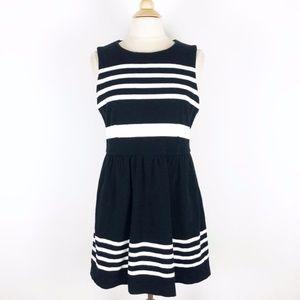 J.Crew Black White LBD Striped Work/Party Dress L